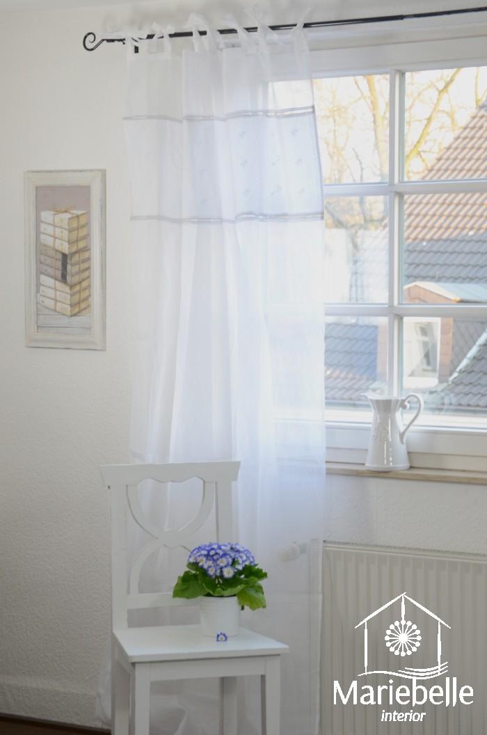 vorhang gardine am lie 140x250 cm schal wei hohlsaum stickerei shabby landhaus ebay. Black Bedroom Furniture Sets. Home Design Ideas